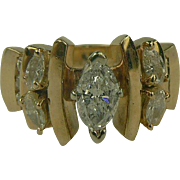 14k Two Tone Gold Diamond Ring-Size 7 1/2.