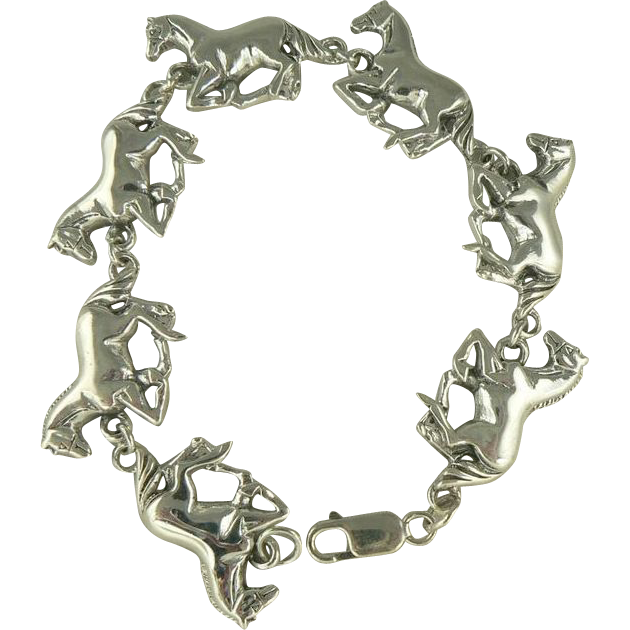 "Amazing Sterling Horse Bracelet-7 1/2""."