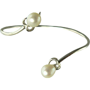 Heart Shaped Sterling & Freshwater Cultured Pearl Wrap  Bracelet.