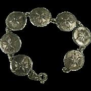 Large Sterling Sand Dollar Link Bracelet.