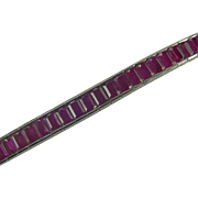 Ruby and 14k White Gold Tennis Bracelet.