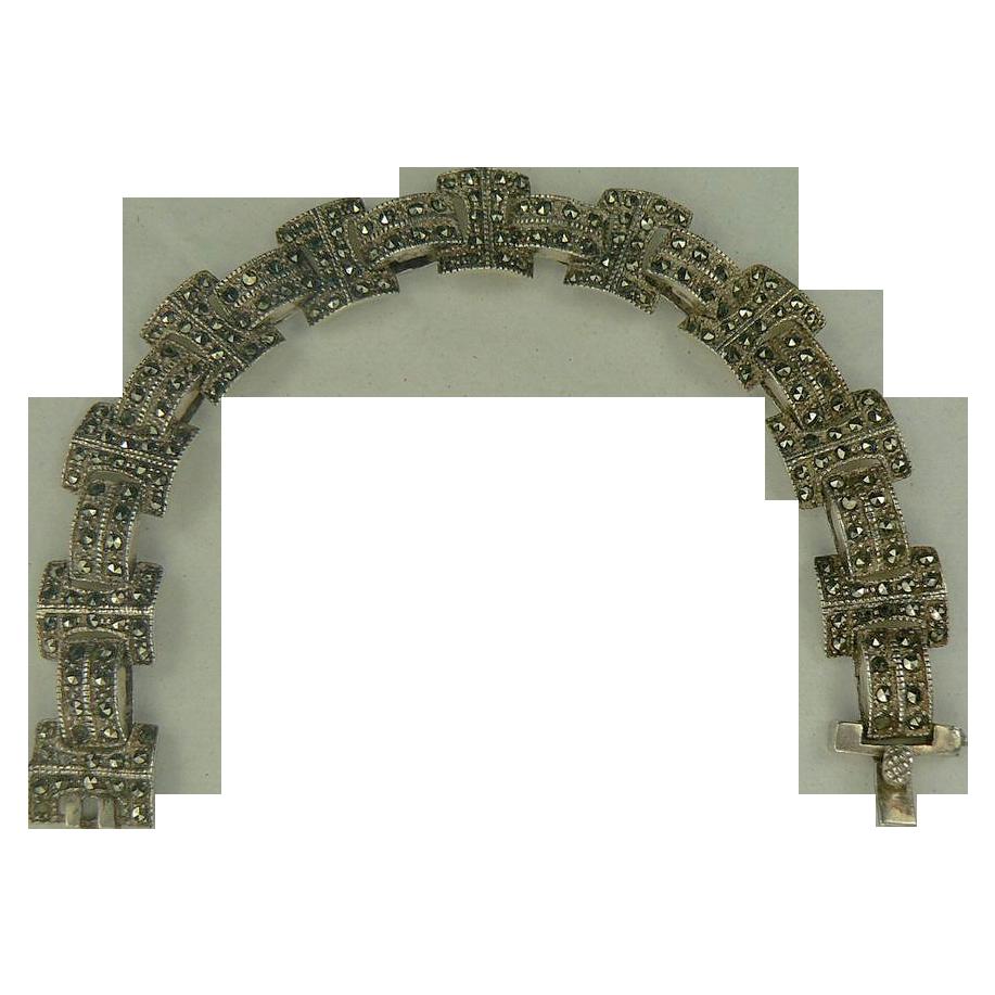 Marcasite Link Bracelet-Sterling.