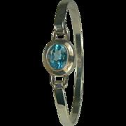 Blue Topaz and Sterling Bangle Bracelet.