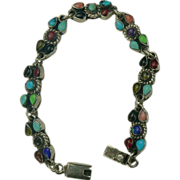 Semi-Precious Gemstone Mexican Sterling Bracelet.