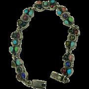 Semi-Precious Gemstone Mexican Sterling Bracelet.
