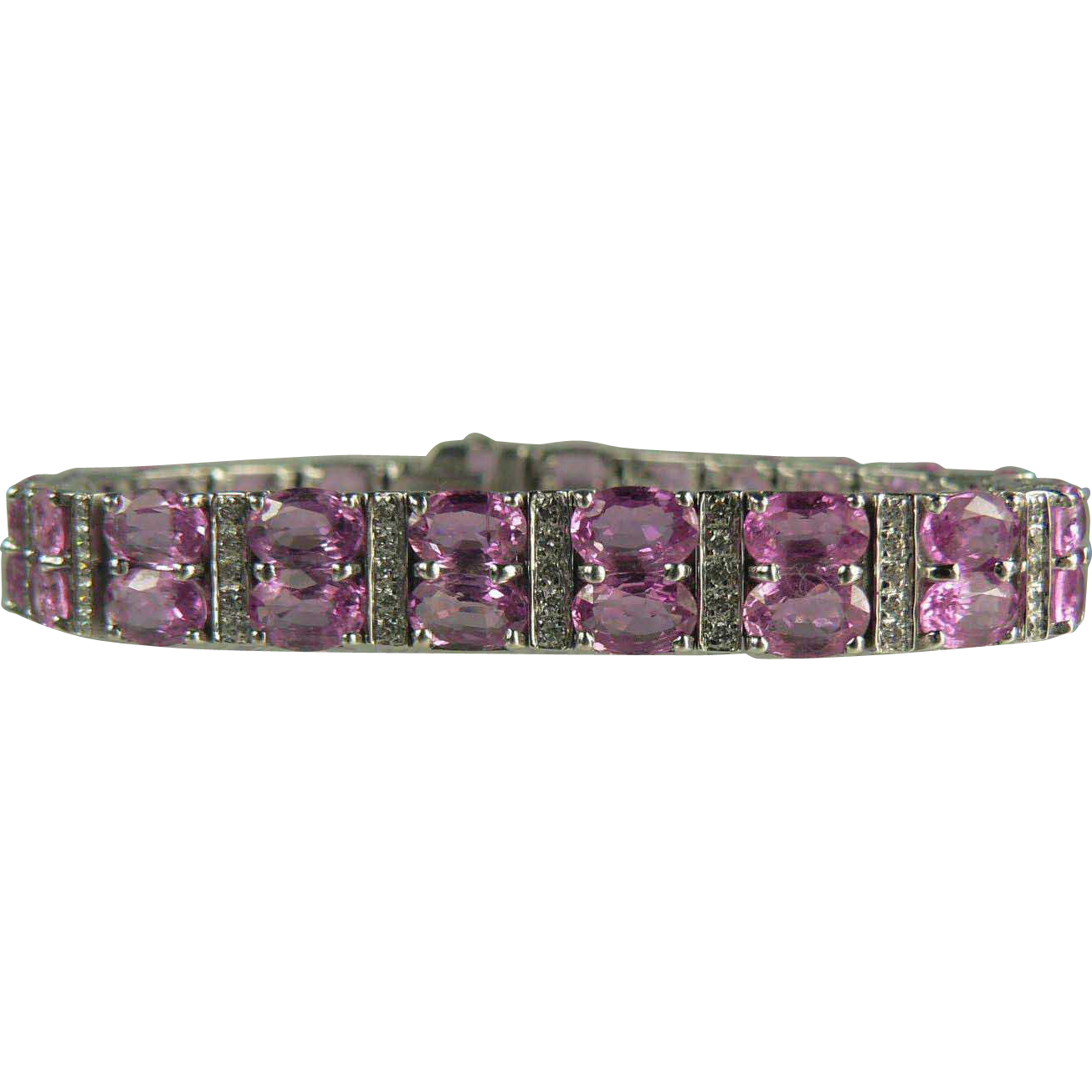 WOW~18 CWT Pink Sapphire and Diamond Tennis Bracelet~14k.