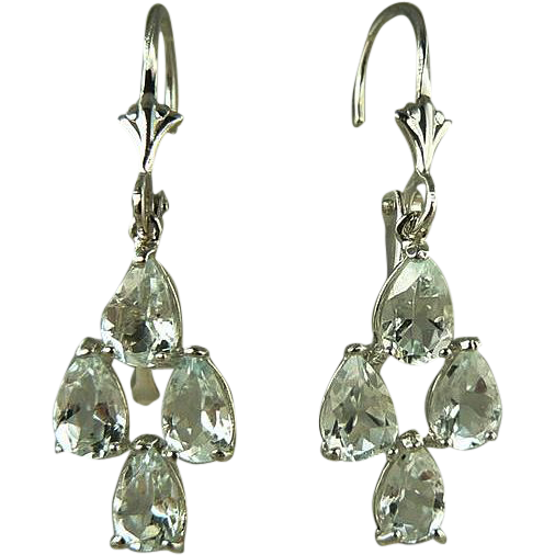 Chandelier Aquamarine Earrings~14k White Gold~Pierced.