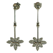 18K White Gold & Diamond Dangle Earrings.