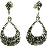 Marcasite & Sterling Drop Earrings~Pierced.