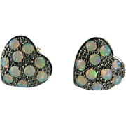 Victorian Heart Shaped Opal Earrings~9K