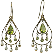 Brilliant Peridot & Seed Pearl Earrings-Early 1900's.