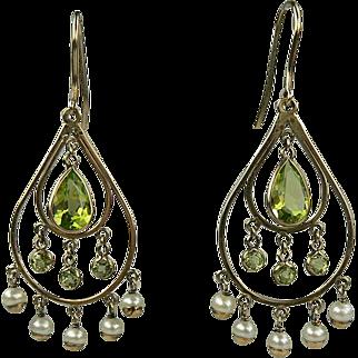Peridot Seed Pearl Earrings-Early 1900's.