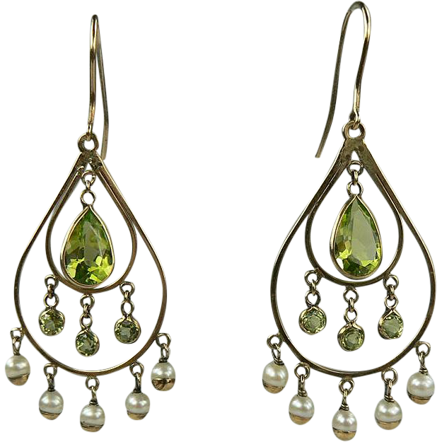Peridot Seed Pearl Earrings-Early 1900's.