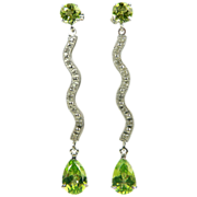 Peridot & Diamond Drop Earrings~14k.