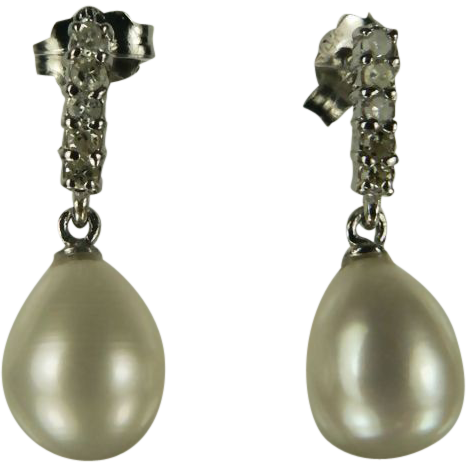 14k Diamond and Freshwater Cultured Pearl Earrings.