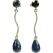 Sapphire Drop Earrings~14k.