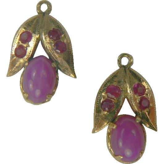 Star Sapphire & Ruby Earring Jackets~14k.