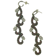 Gorgeous Garnet & White Topaz Chandelier Drop Earrings.