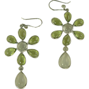 Peridot & Moonstone Earrings-Sterling.