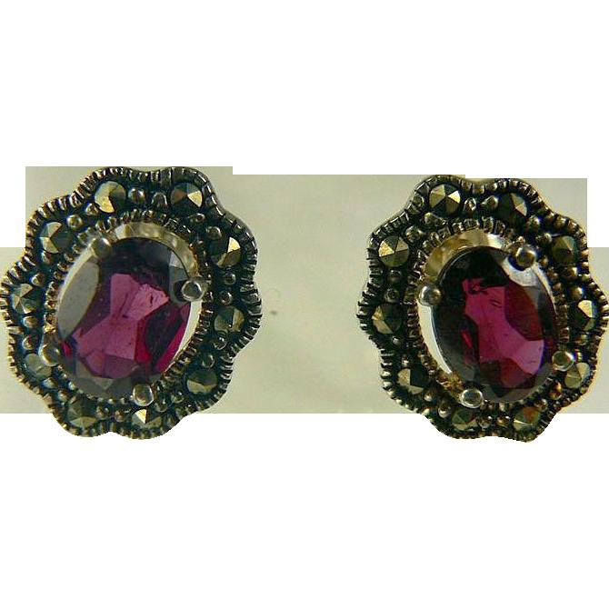 Garnet & Marcasite Sterling Stud Earrings.