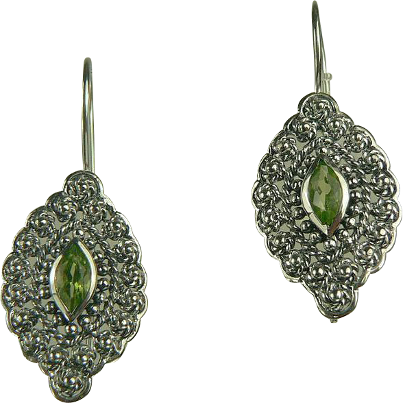 Peridot and Sterling Silver Filagree Earrings.