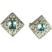 Blue Topaz &  Diamond Heart Earrings ~14k .