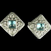 Blue Topaz &  Diamond Heart Earrings ~14k .