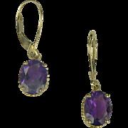 Amethyst Drop Earrings In 14k Yellow Gold.