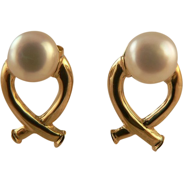 """X"" Design Cultured Freshwater Button Pearl Earrings."