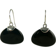 Fantastic Onyx Earrings Styled in  Sterling Silver, Pierced.