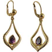 Lovely 14k  Gold Amethyst Earrings, Pierced Ears.