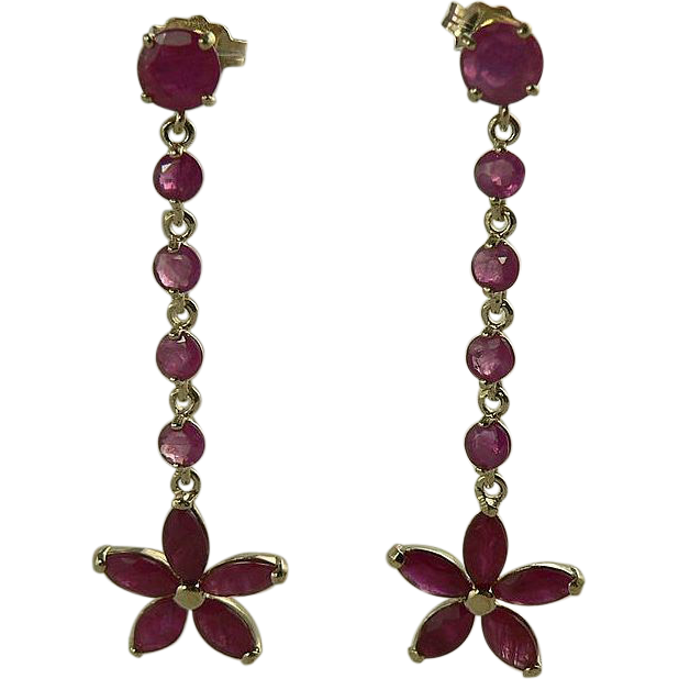 Natural Ruby Earrings-14k.