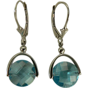 6.5 CWT Blue Topaz Earrings - 14k White Gold.