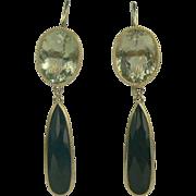 Drama! '50s Lemon Quartz & Black Onyx Drop Earrings, 14K.