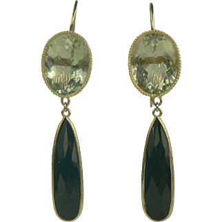 Drama! '50s Lemon Quartz & Black Onyx Drop Earrings, 14K.