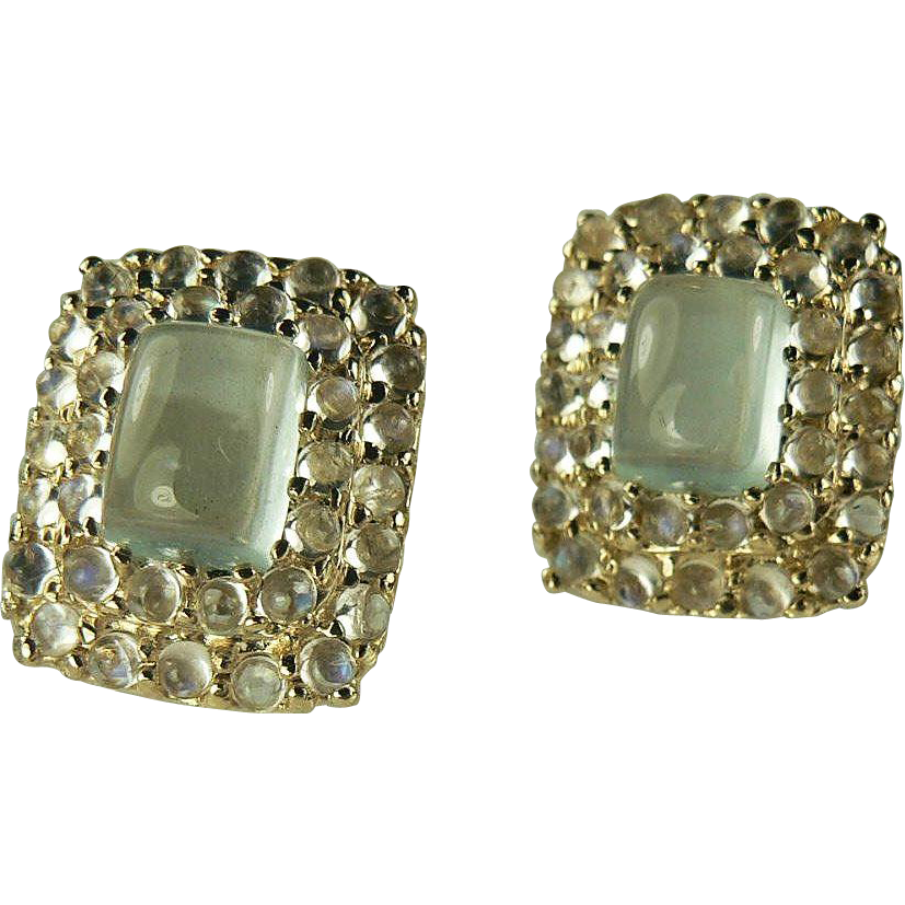 Moonstone & Aquamarine 14k Gold Earrings.