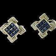 Blue Sapphire & Diamond Earrings-14k.
