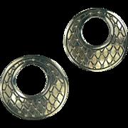 Vintage Mexican Sterling Earrings by Manuel Porcayo Figueroa .