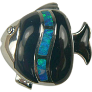 Opal and Onyx Fish Pendant  or Charm - 18k