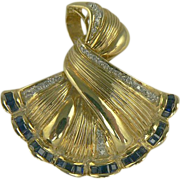 14k Sapphire & Diamond Pendant/Brooch.