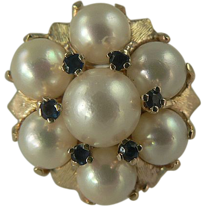 Heavy Freshwater Cultured Pearl & Sapphire Cocktail Ring~14k~Size 6.