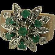 Striking Emerald & Diamond Ring, Size 7.75, 14k Gold.