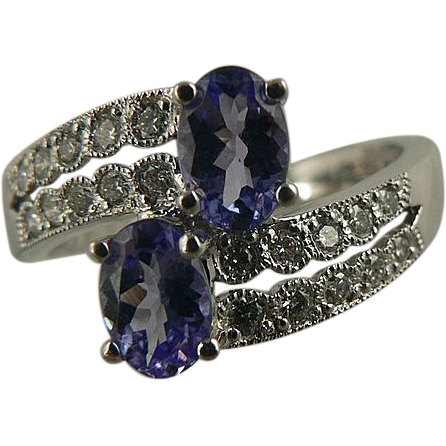 Lovely Color -Tanzanite & Diamond Ring, 14k, Size 7