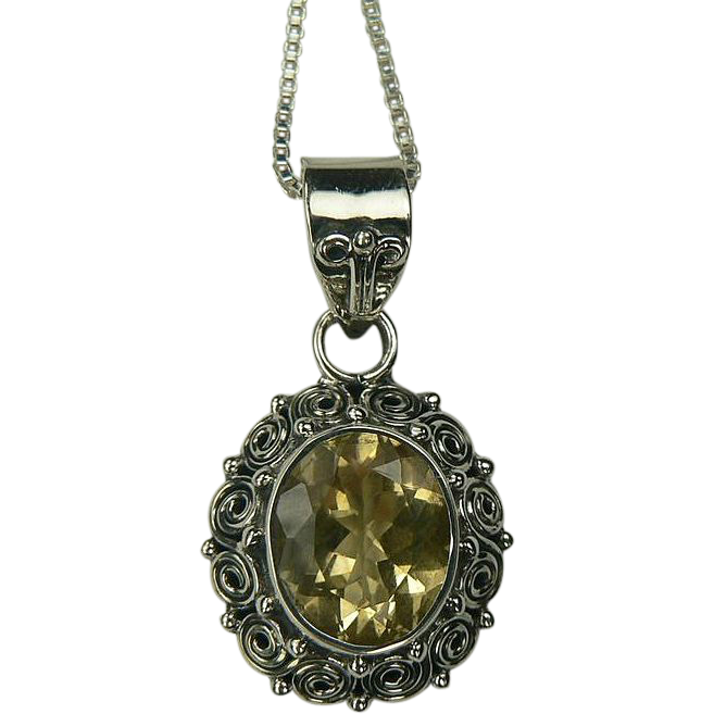 Citrine Pendant Necklace~ Sterling.
