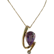 Amethyst & Diamond 10k Pendant Necklace.