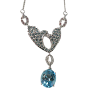 Blue Topaz, Tourmaline and Diamond Necklace-10k