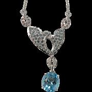 Blue Topaz, Tourmaline and Diamond Necklace-10k