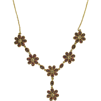 Mid-Century Garnet and Moonstone Drop Necklace.