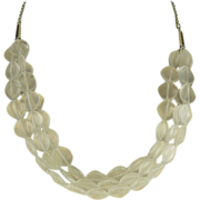 Triple Strand Matte Crystal Necklace - Sterling.