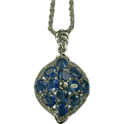 Topaz and Kyanite Pendant Necklace-Sterling.